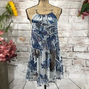 Mabel Sexy Strappy Back Boho Paisley Dress NWT